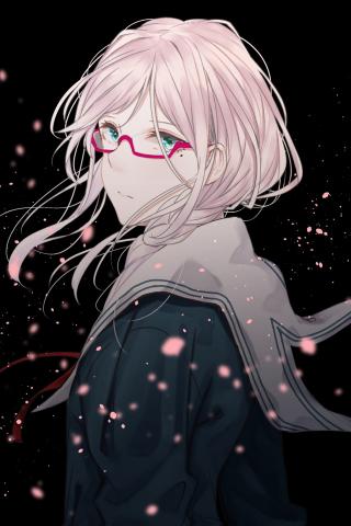 School Uniform Anime Girl Cute Glasses Art 240x320 Wallpaper
