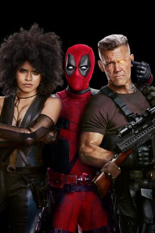 Deadpool 2 Movie Domino Cable 2018 240x320 Wallpaper