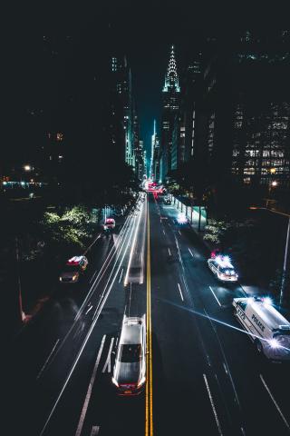 Download 240x320 Wallpaper Night City Road Traffic Buildings