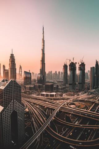 Dubai, skyline, cityscape, skyscrapers, buildings, Burj Khalifa, city, 240x320 wallpaper