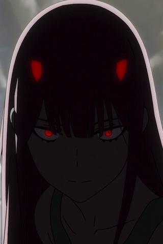 Download 240x320 wallpaper dark, red eyes, zero two, anime ...