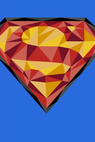 Superman, logo, low play, art, 320x480 wallpaper