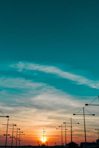 Sunset, landscape, skyline, 320x480 wallpaper