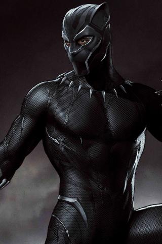 Download 240x320 Wallpaper Art Black Suit Black Panther Superhero