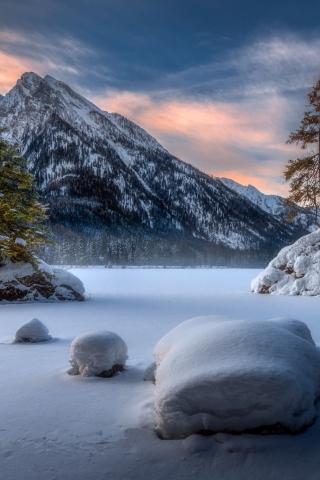 Landscape, mountains, winter, sunset, 320x480 wallpaper