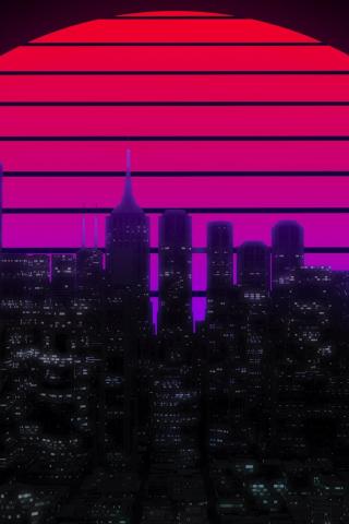 Download 240x320 Wallpaper Moon Cityscape Skyscrapers