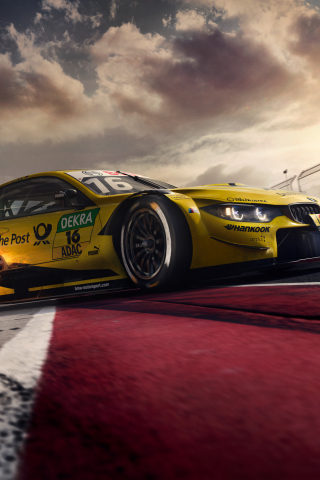 Download 240x320 Wallpaper Bmw M4 Dtm Yellow Sports Car On Road Old Mobile Cell Phone Smartphone 240x320 Hd Image Background 10443