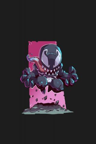 Download 240x320 Wallpaper Venom Villain Marvel Comics Minimal