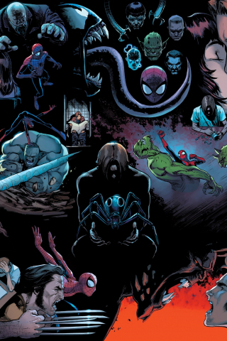 Spider Man Marvel Comics Dark 240x320 Wallpaper
