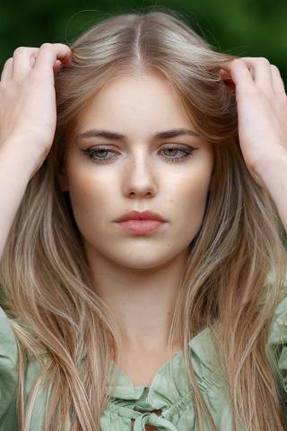 Pretty woman, blonde, model, beautiful, 240x320 wallpaper