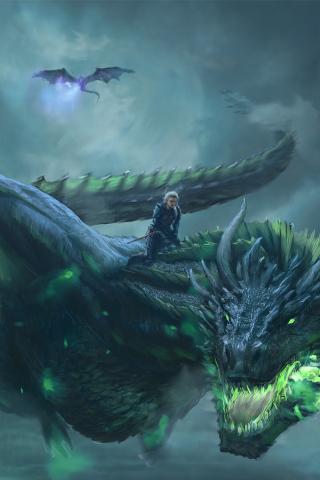 Download 240x320 Wallpaper Daenerys Targaryen Dragon Ride