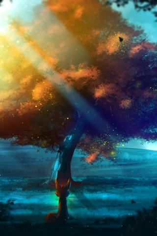 Download 240x320 Wallpaper Tree Nature Fantasy Fox