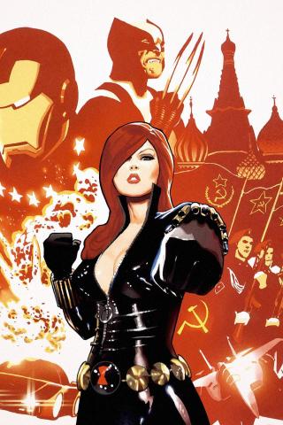 Black Widow Minimal Marvel Comics 240x320 Wallpaper