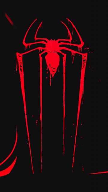 Logo, minimal, spider-man, dark, 360x640 wallpaper