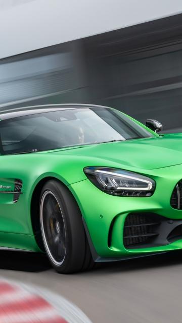 Mercedes-AMG GT, green car, on-road, 360x640 wallpaper
