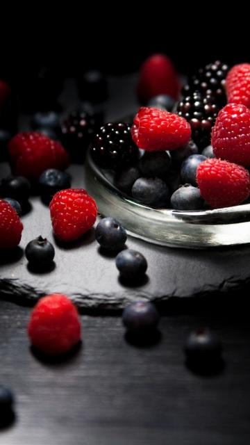 Dark mood, food, fruits, Raspberry, blueberry, Blackberry, 360x640 wallpaper