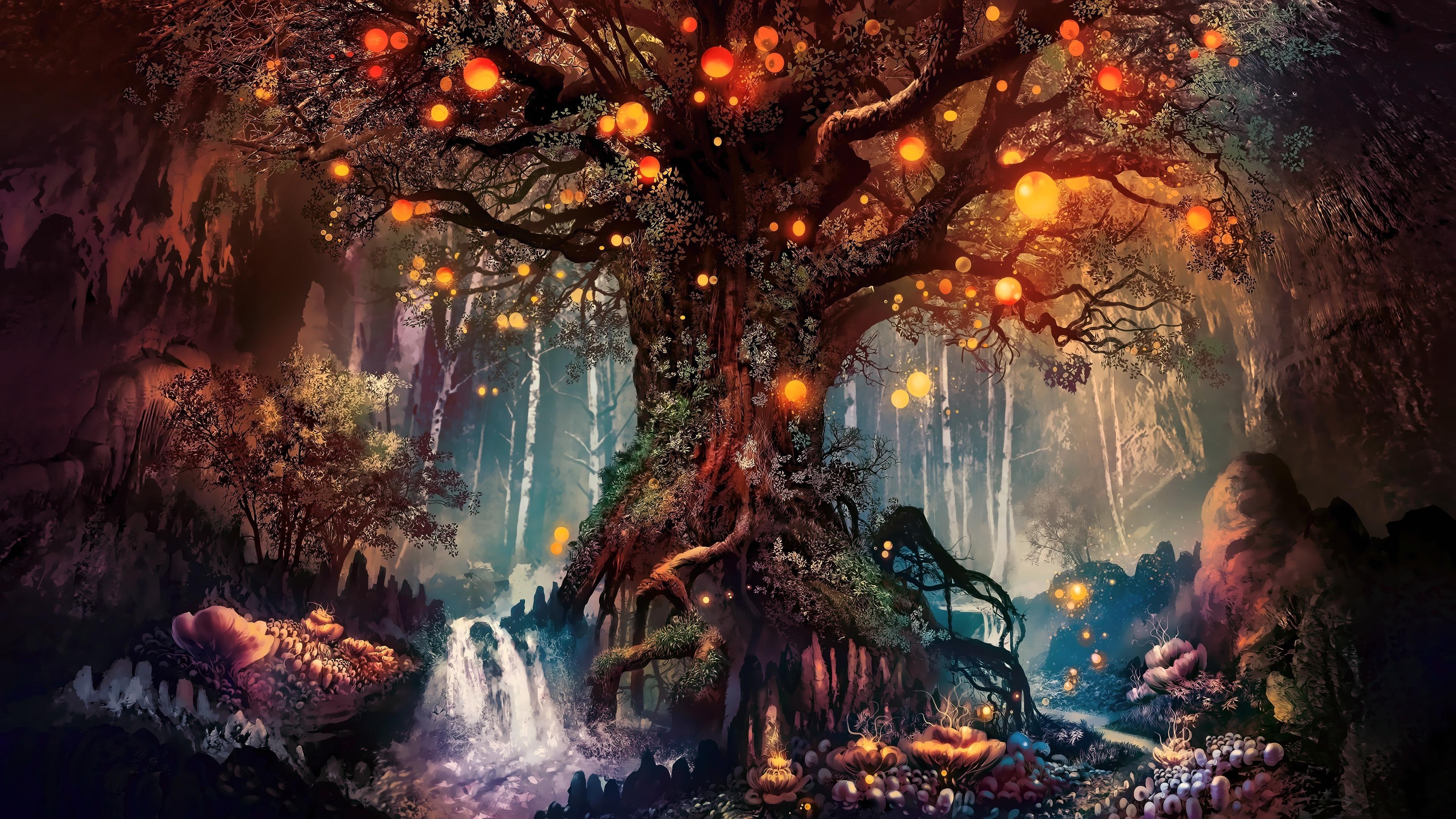 Download 3840x2160 Wallpaper Old Tree Fantasy Art 4k Uhd