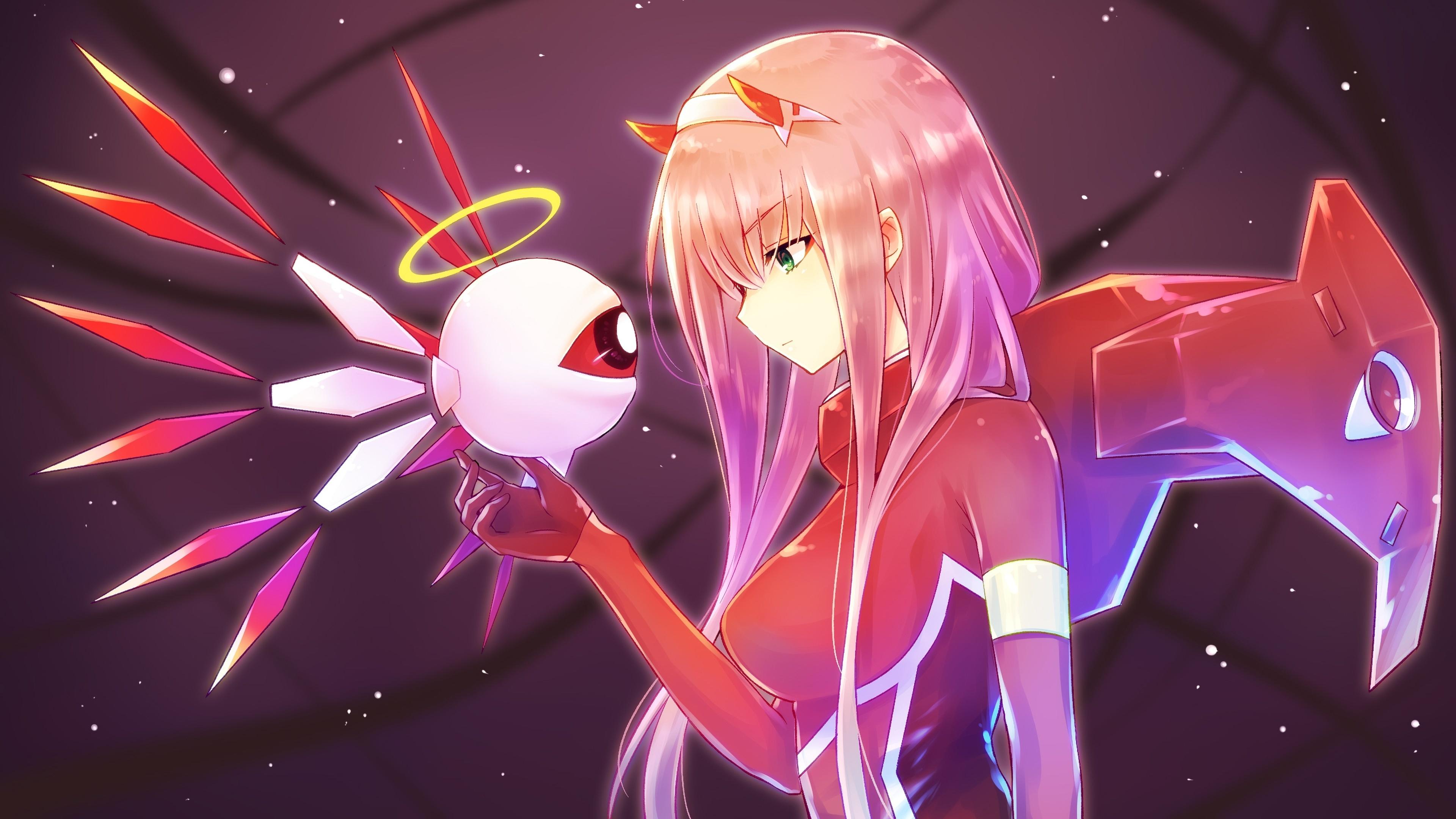 Download 3840x2160 wallpaper anime girl, robot, zero two ...