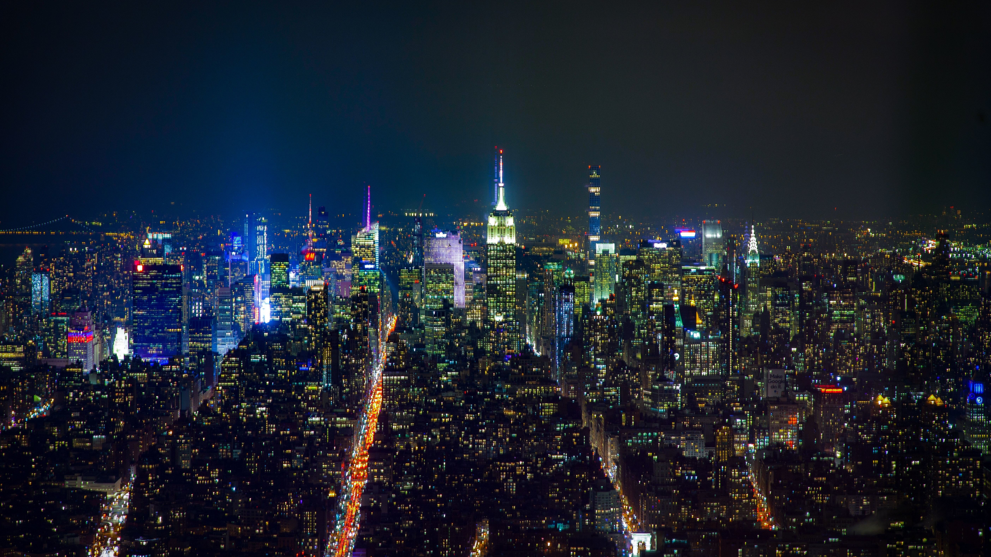 Download 3840x2160 Wallpaper New York Buildings At Night Cityscape 4k Uhd 16 9 Widescreen 3840x2160 Hd Image Background 8611