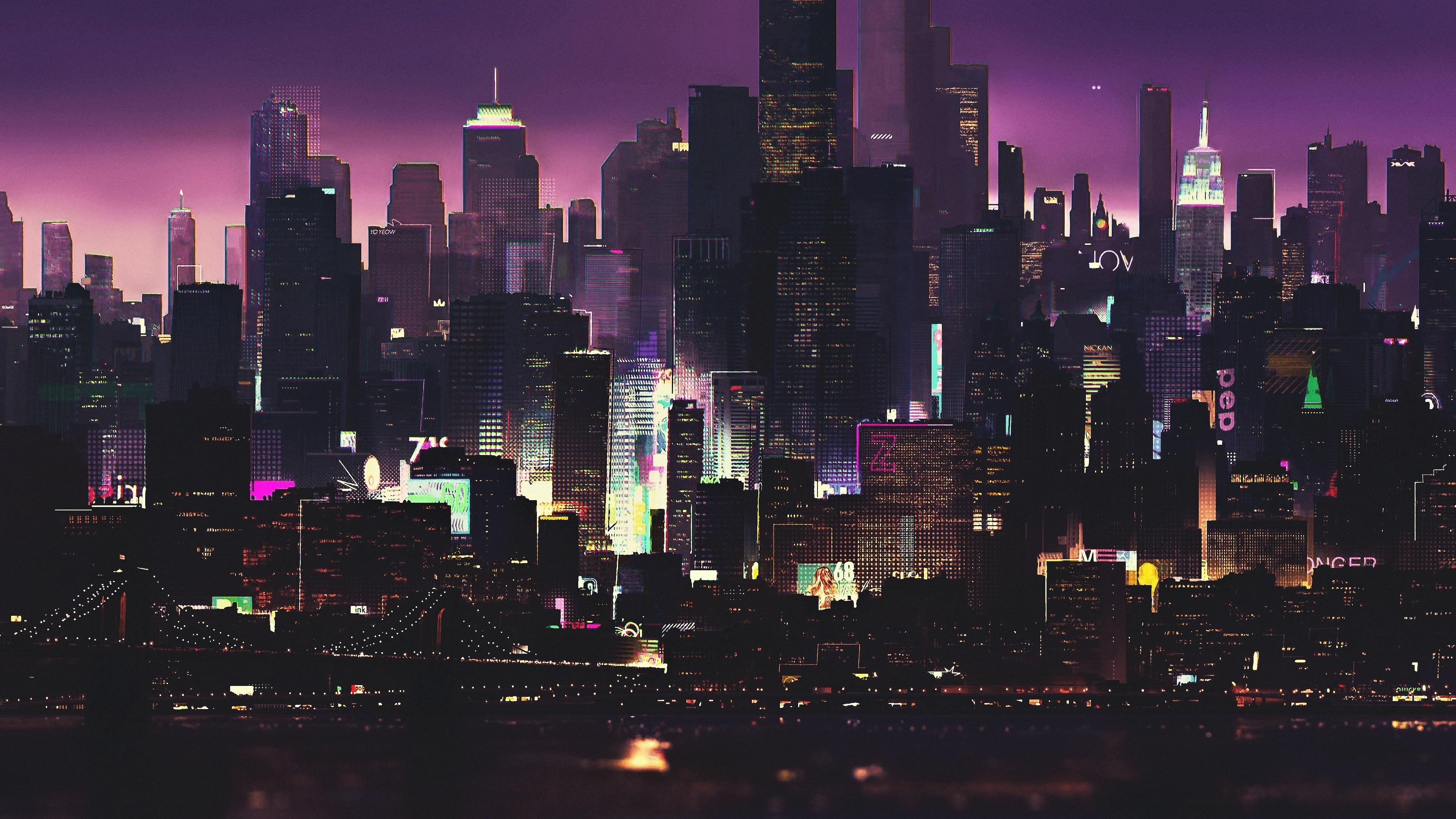 Cyberpunk, buildings, dark, night, cityscape, art, 3840x2160 wallpaper