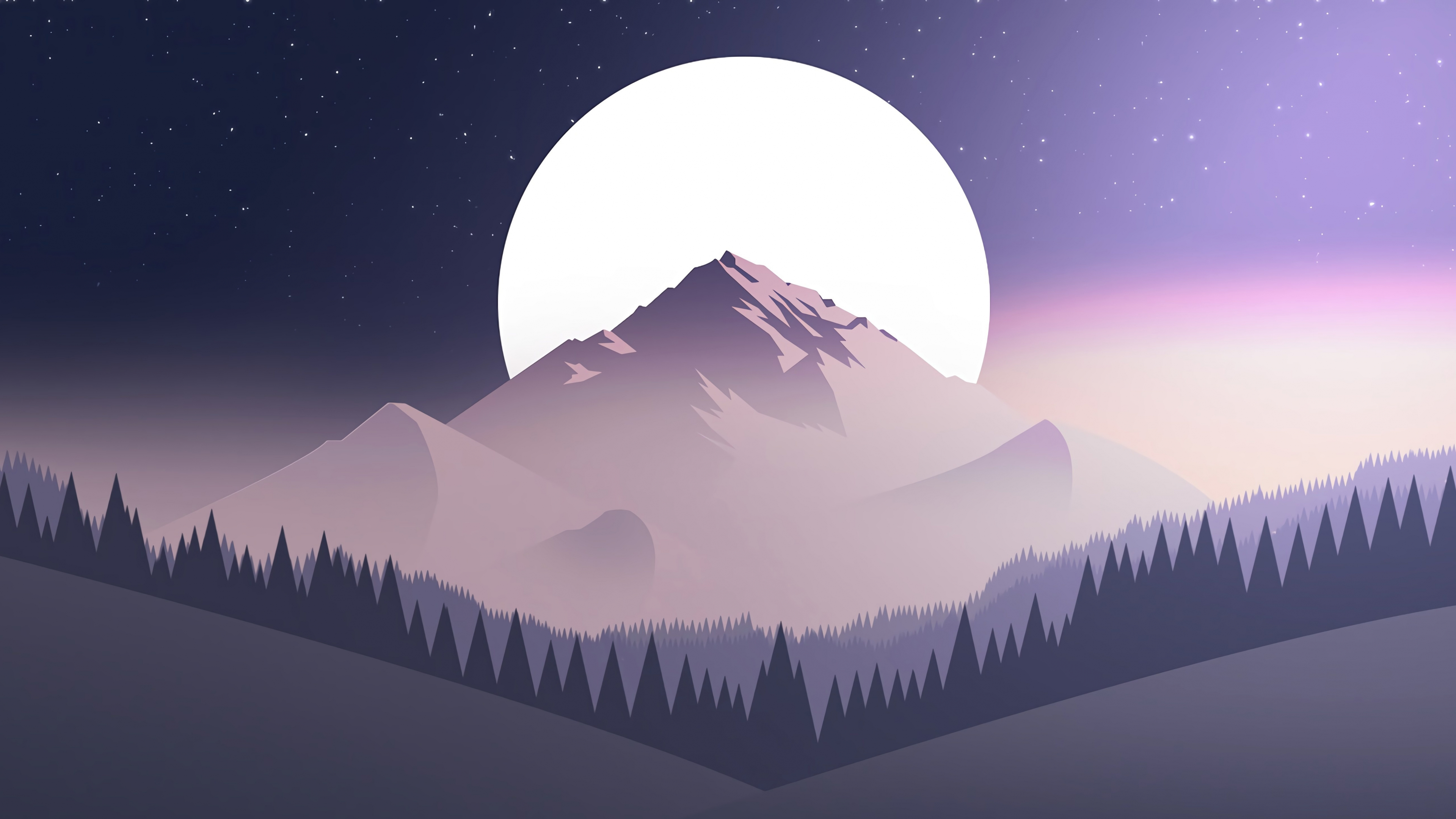 mountains, moon, forest, 4k, uhd ...