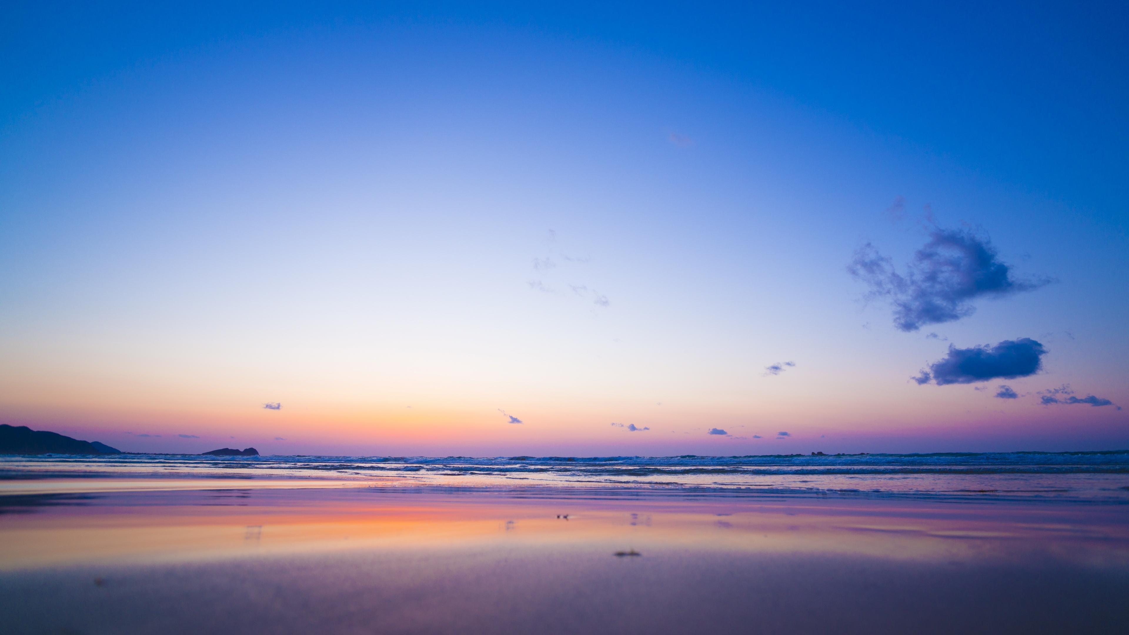 Download 3840x2160 Wallpaper Pink Blue Sunset Calm Beach