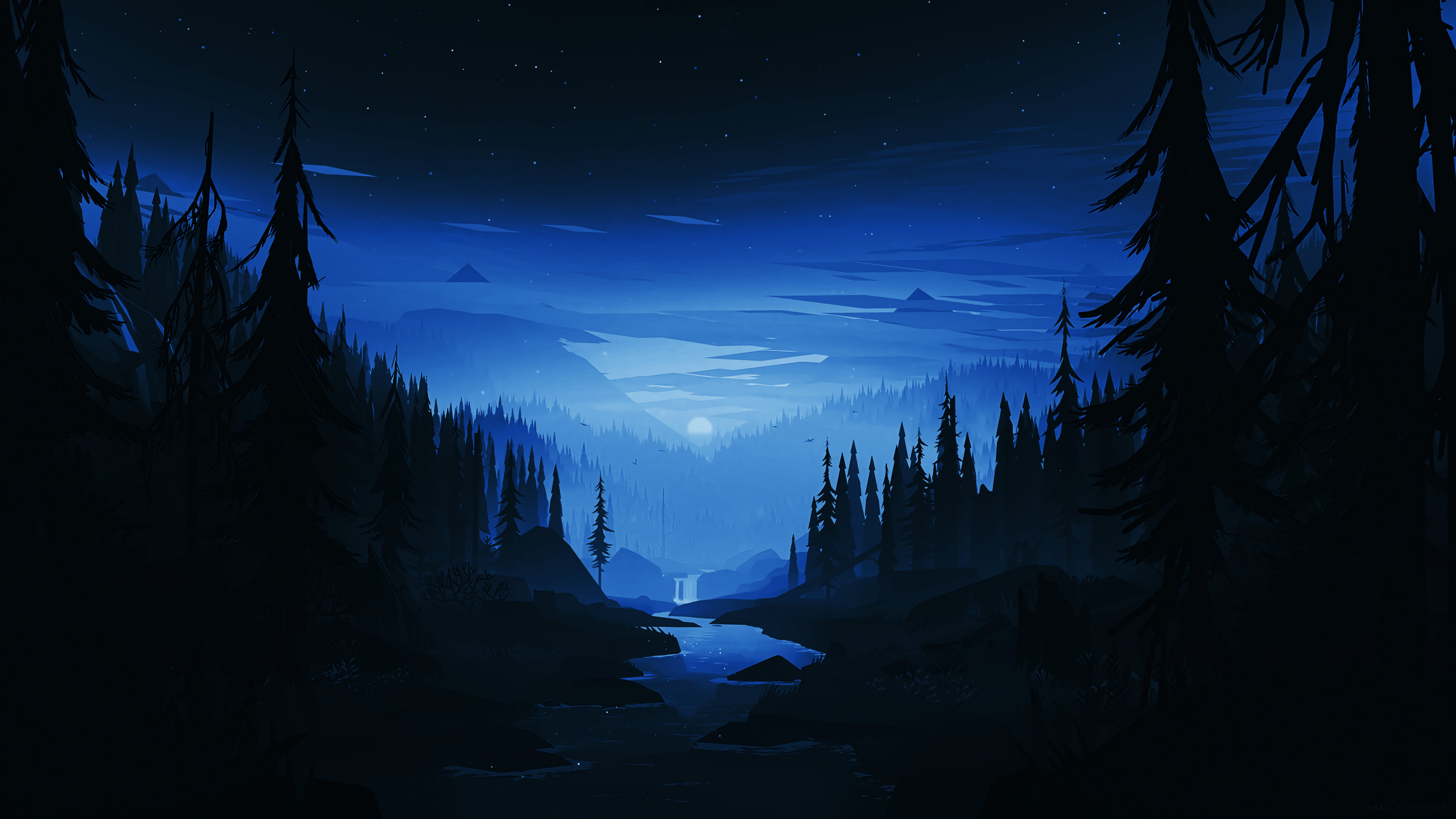 Download 3840x2160 wallpaper dark night, river, forest ...