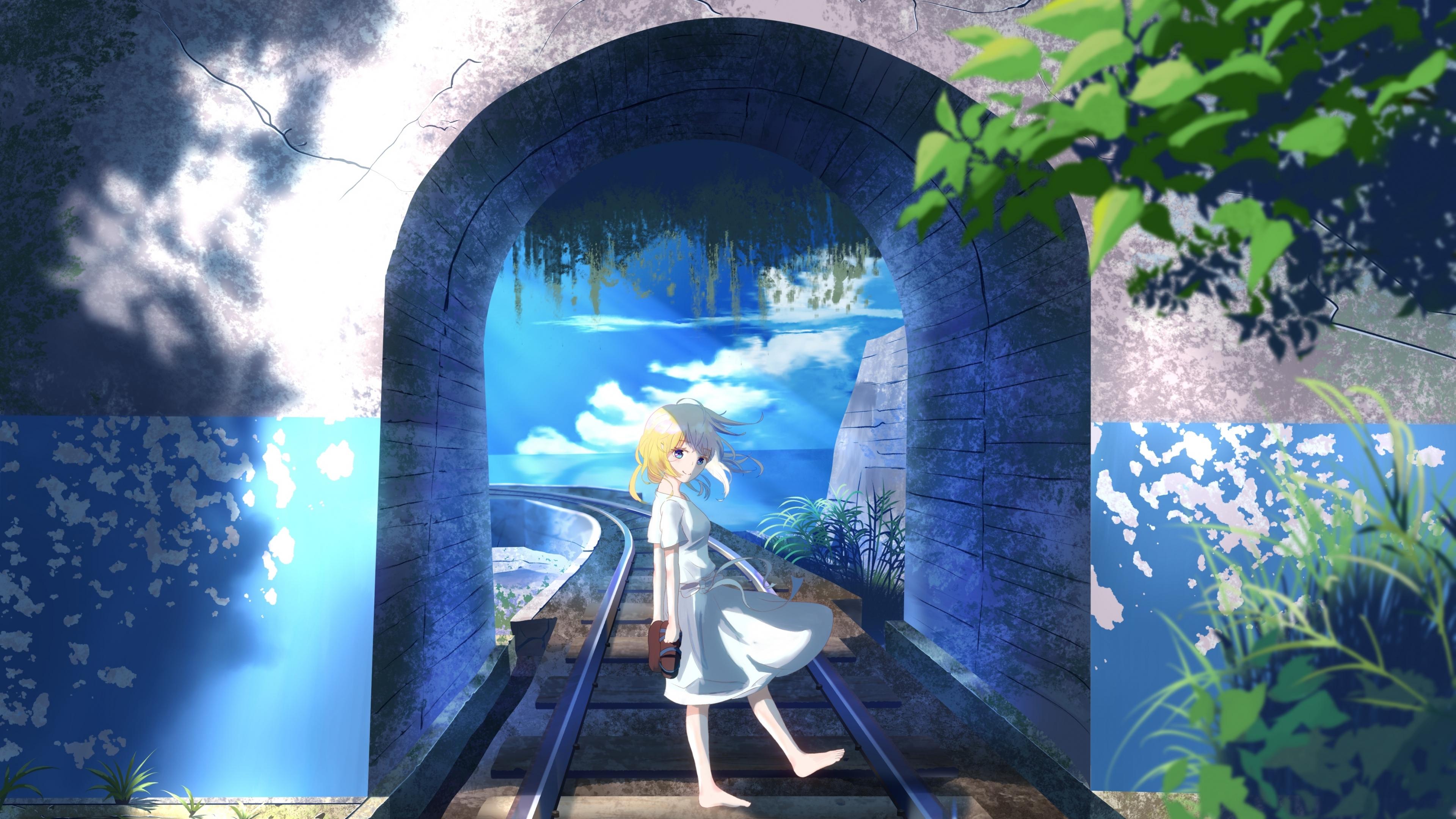 Download 3840x2160 Wallpaper Anime Girl Original Railroad 4k Uhd 16 9 Widescreen 3840x2160 Hd Image Background