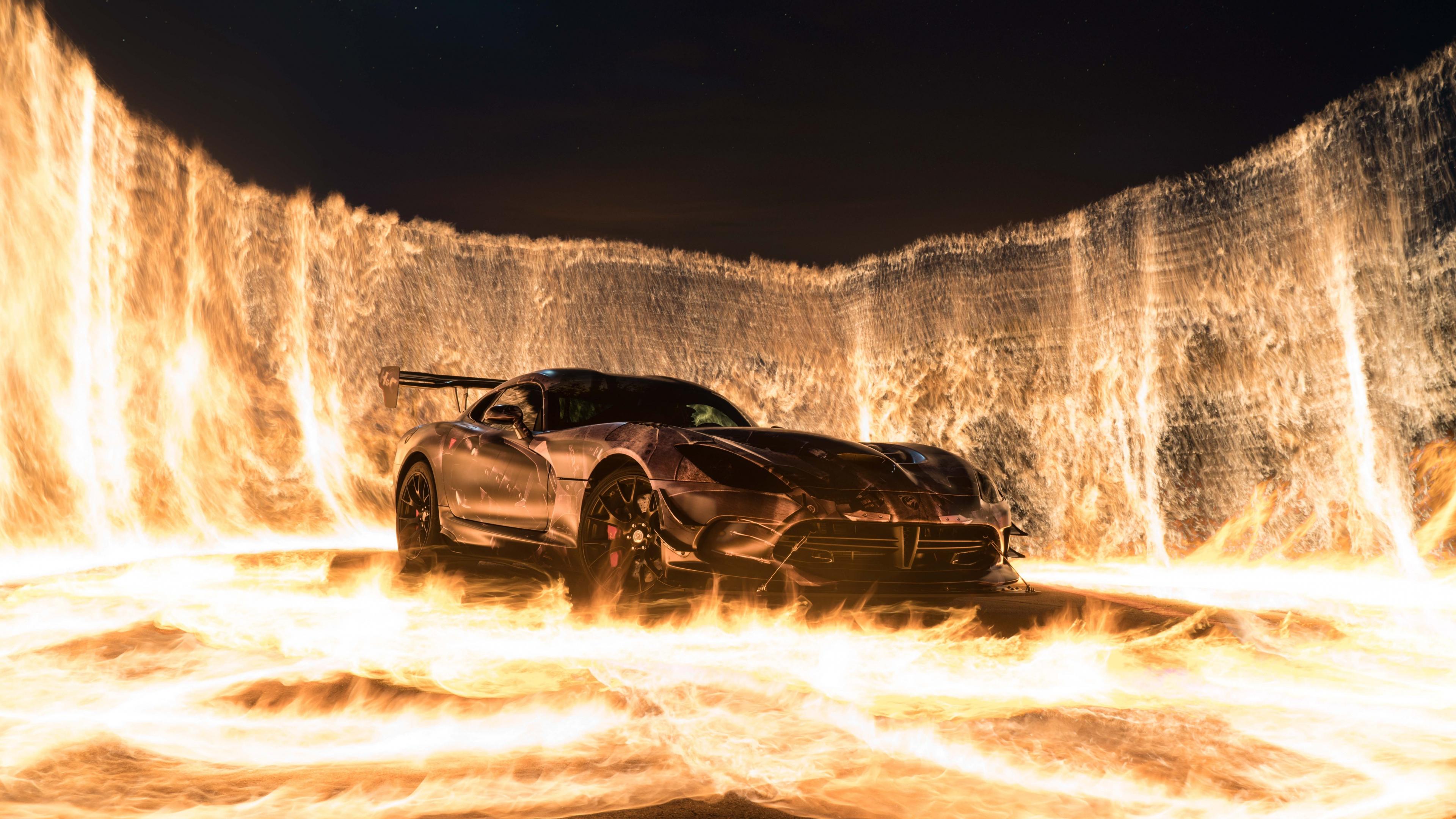 Download 3840x2160 wallpaper sports car, car on fire, 4k ...