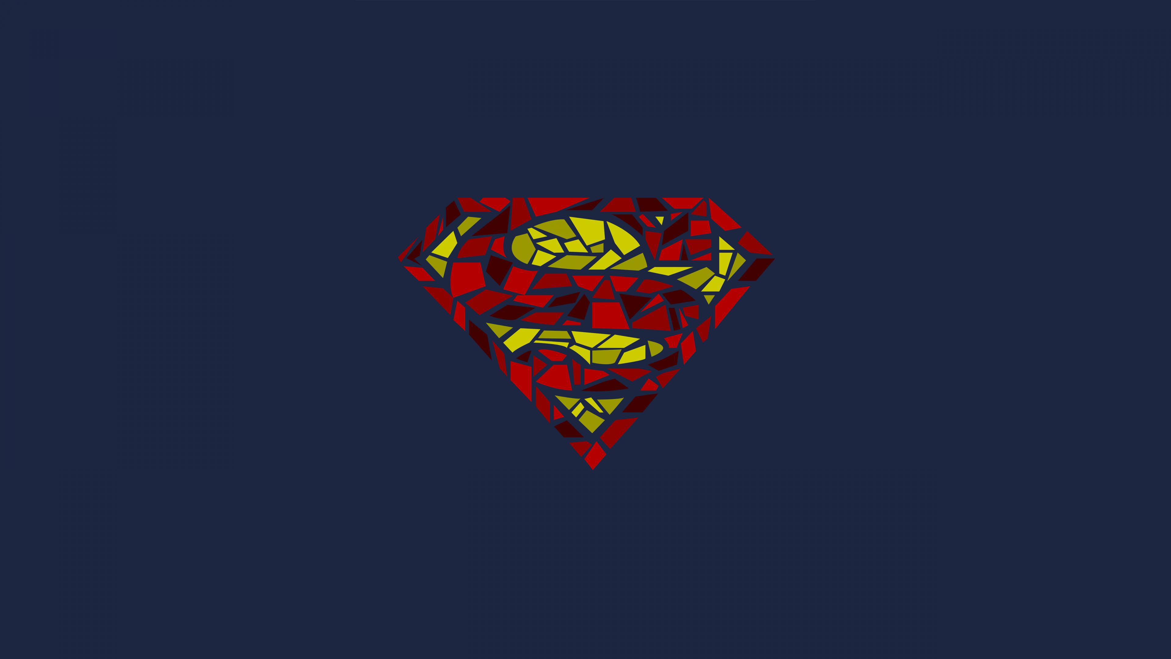 3840x2160 wallpaper superman, logo