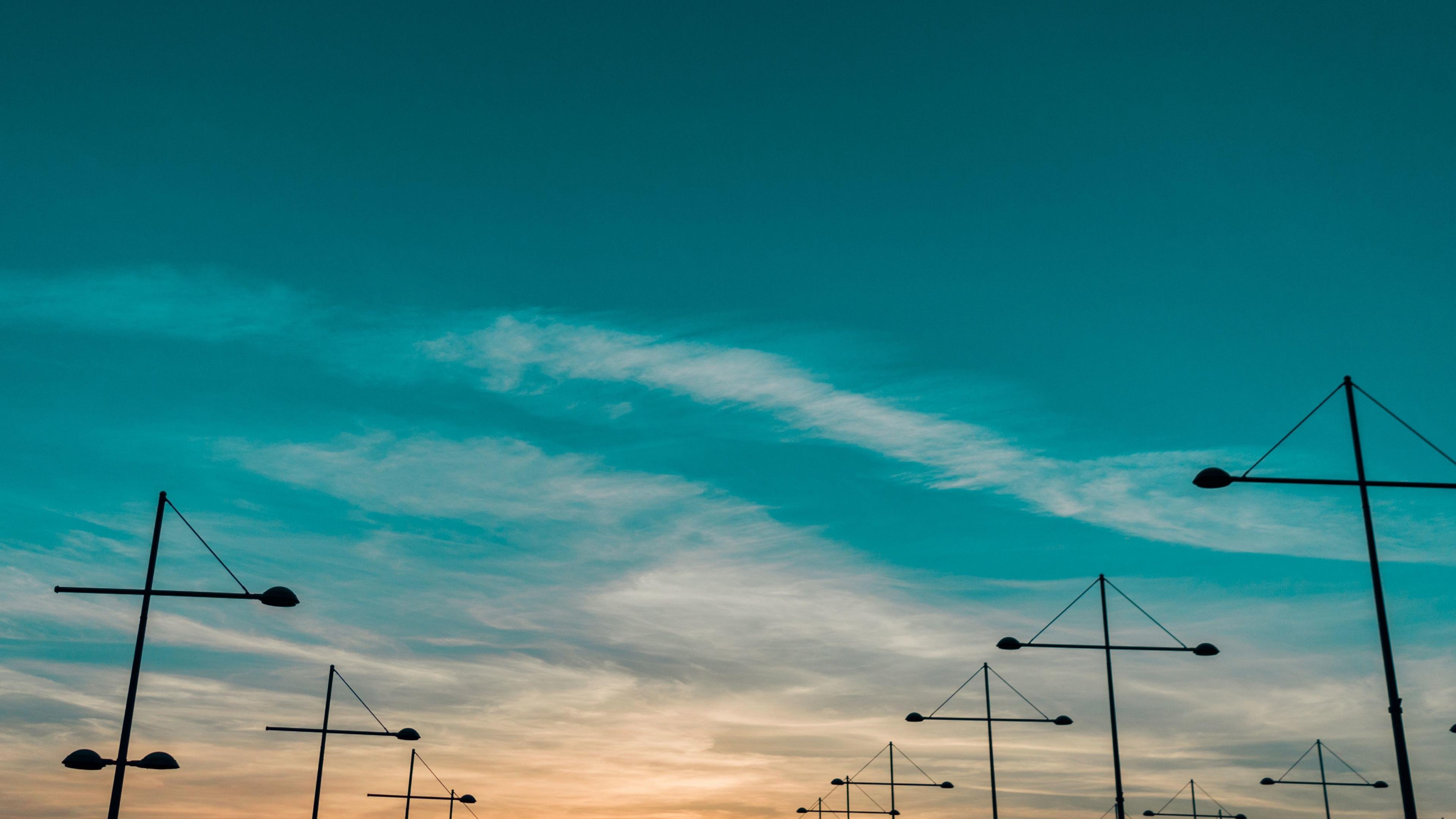Sunset, landscape, skyline, 3840x2160 wallpaper