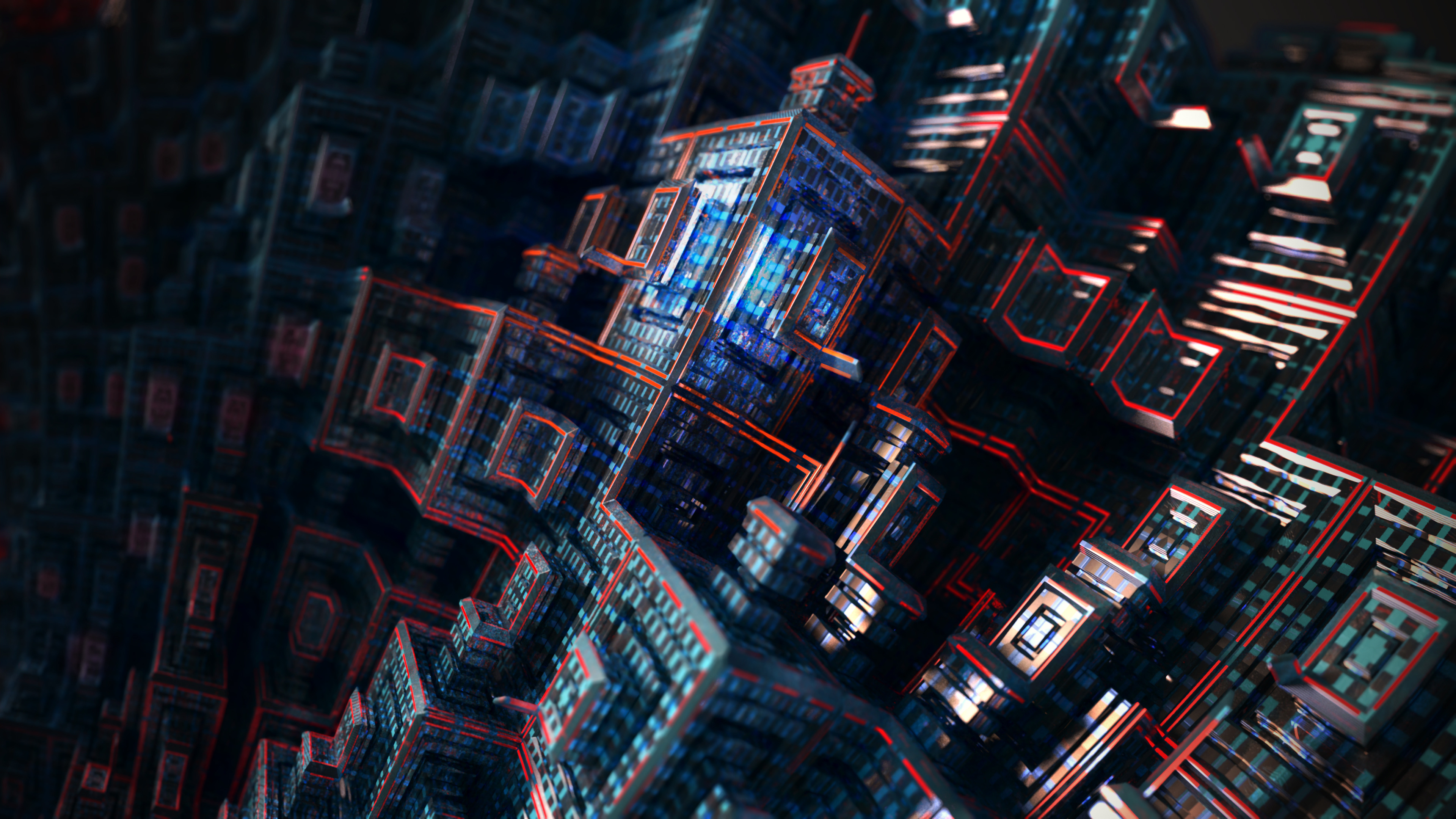 Download 3840x2160 wallpaper fractals, dark, cubes ...