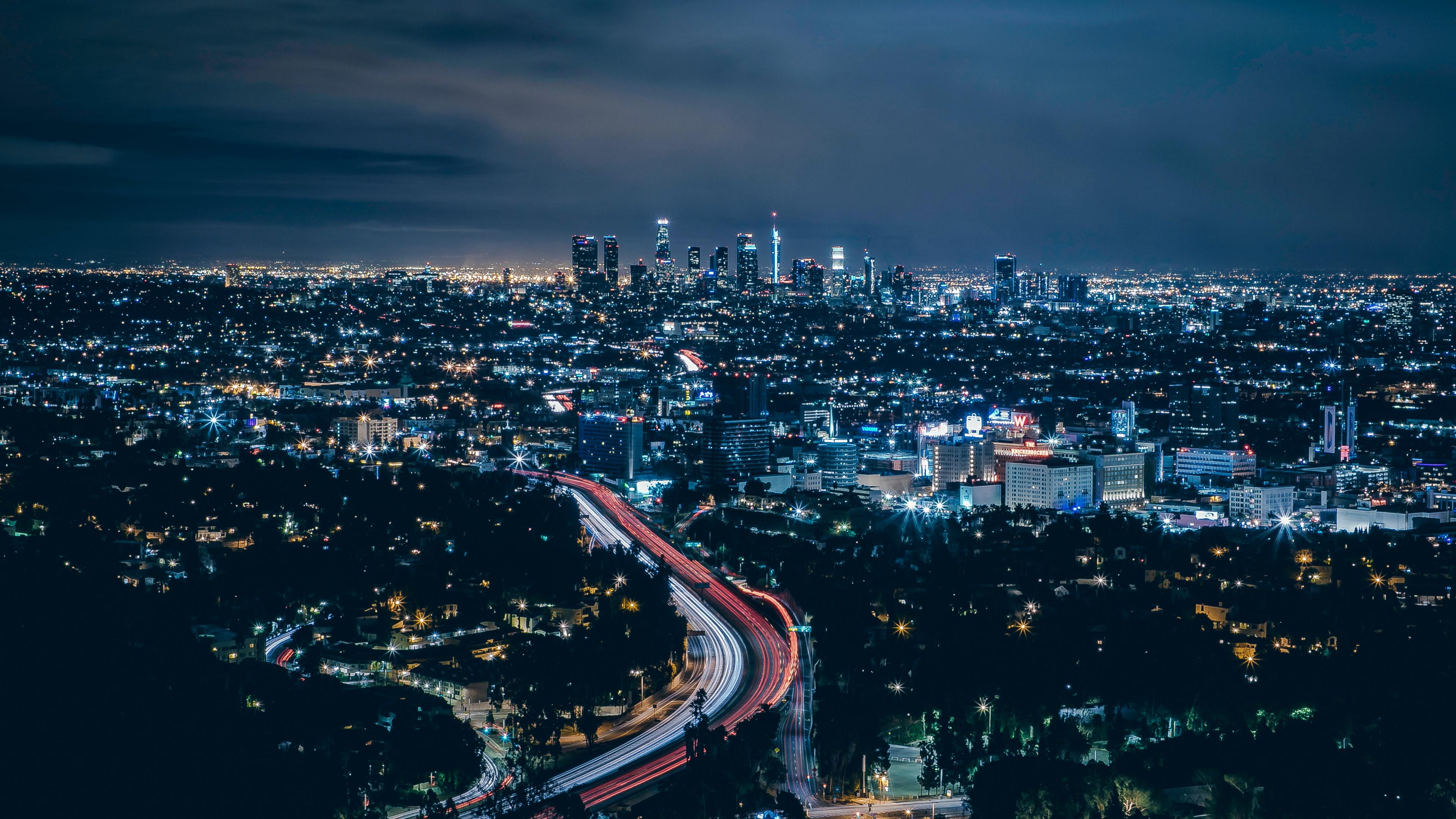 Los Angeles, city, skyscrapers, night, 3840x2160 wallpaper