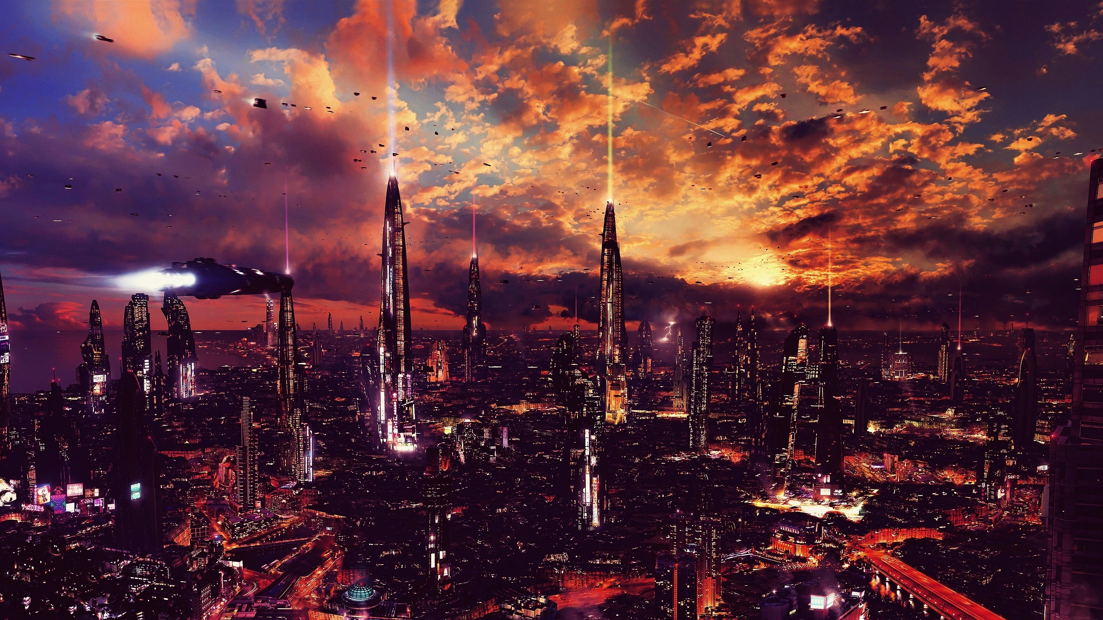 Download 3840x2160 wallpaper futuristic city, science ...