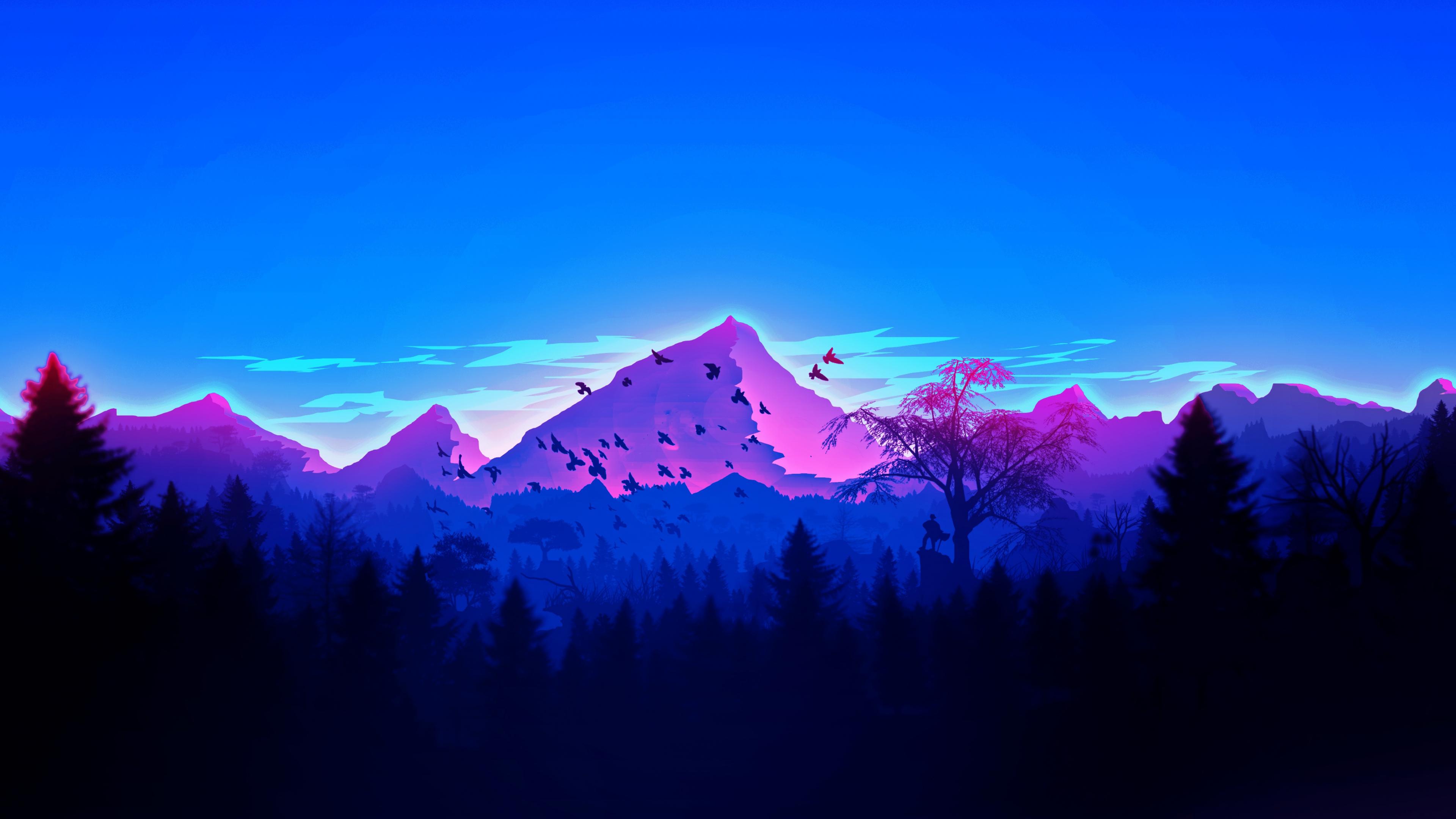 Download 3840x2160 wallpaper mountain, peaks, birds ...