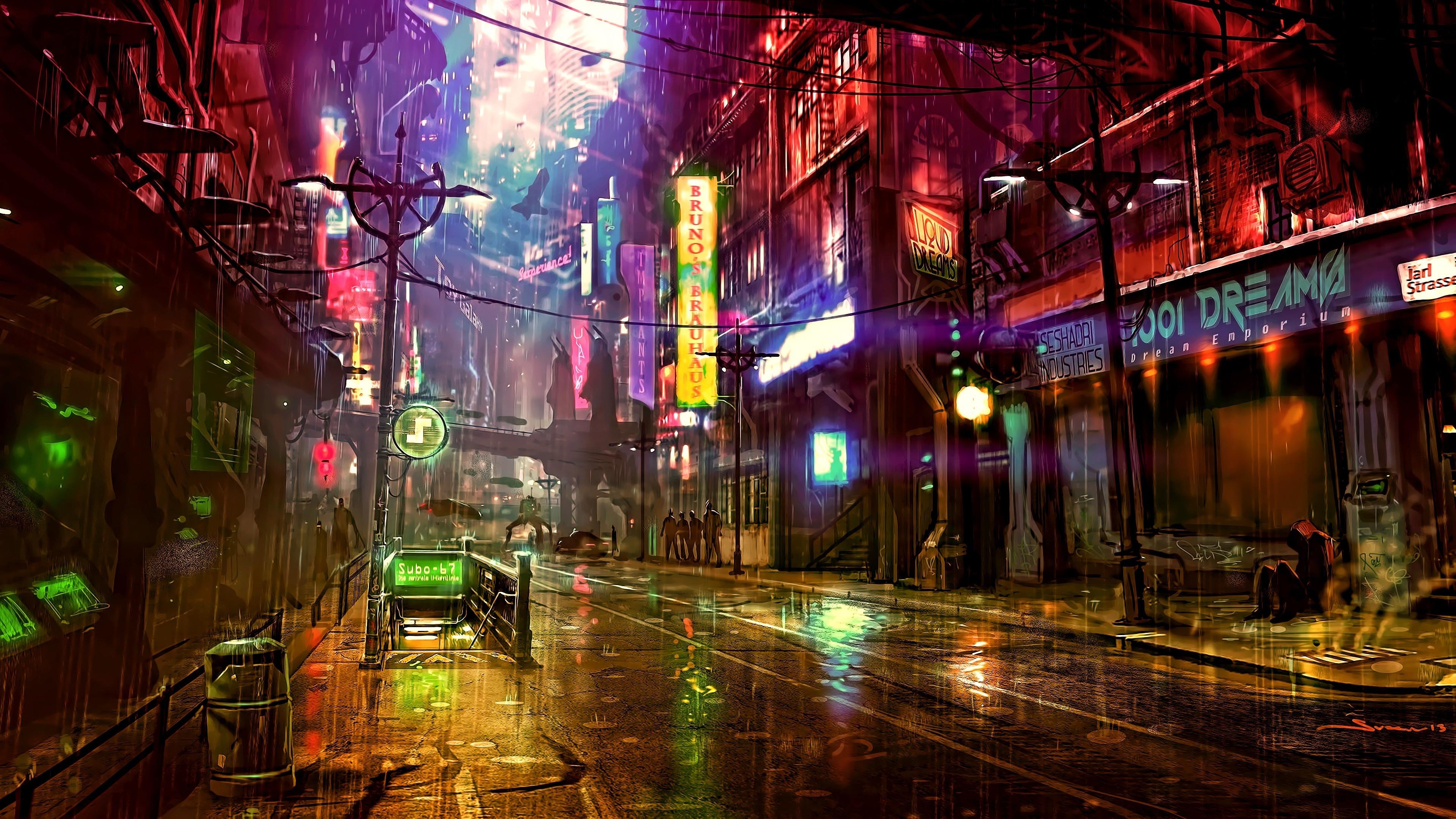 Download 3840x2160 wallpaper cybercity, art, streets, 4k ...
