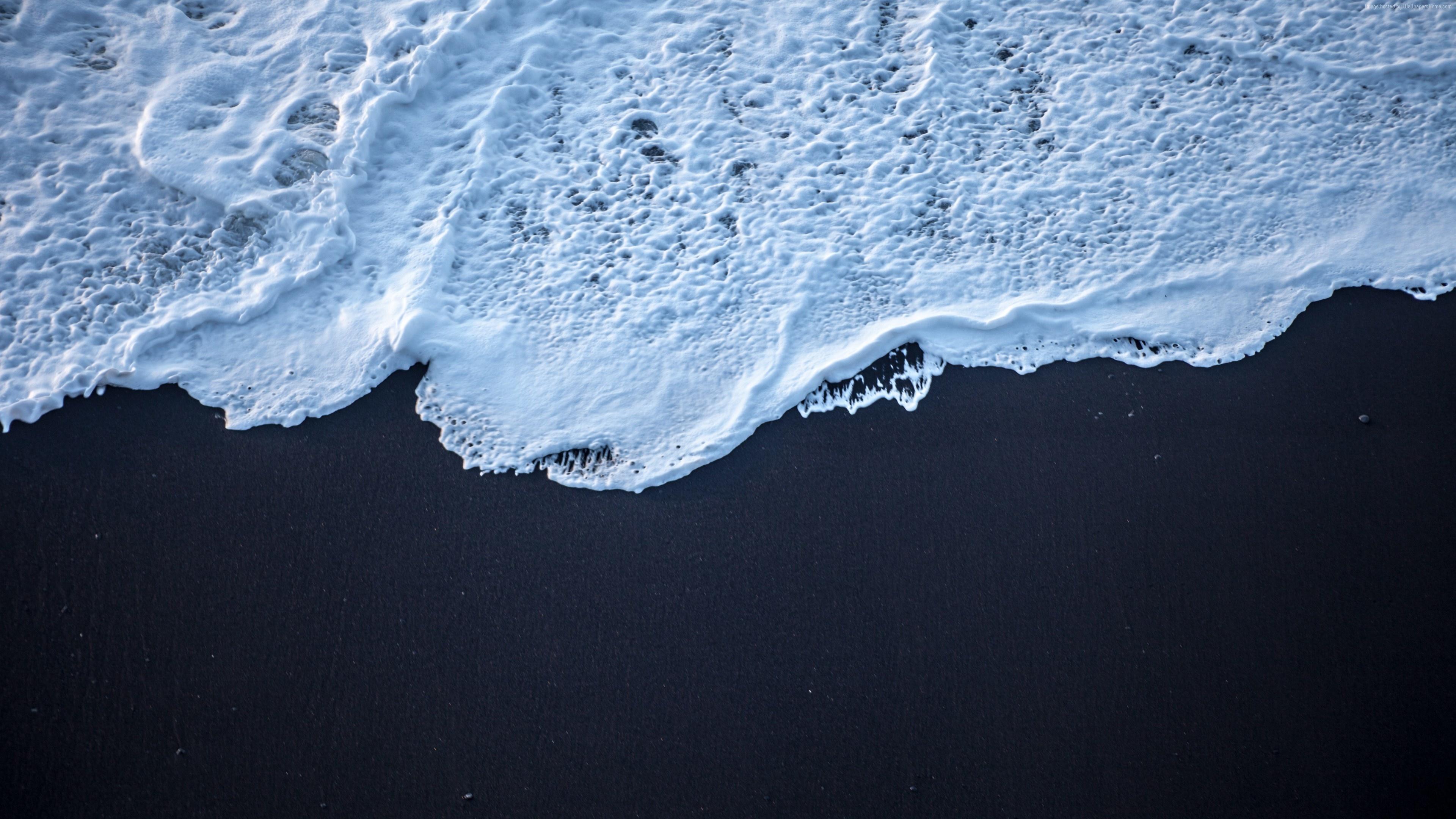 Download 3840x2160 Wallpaper Black Beach Sea Waves Close Up 4k Uhd 16 9 Widescreen 3840x2160 Hd Image Background 16367