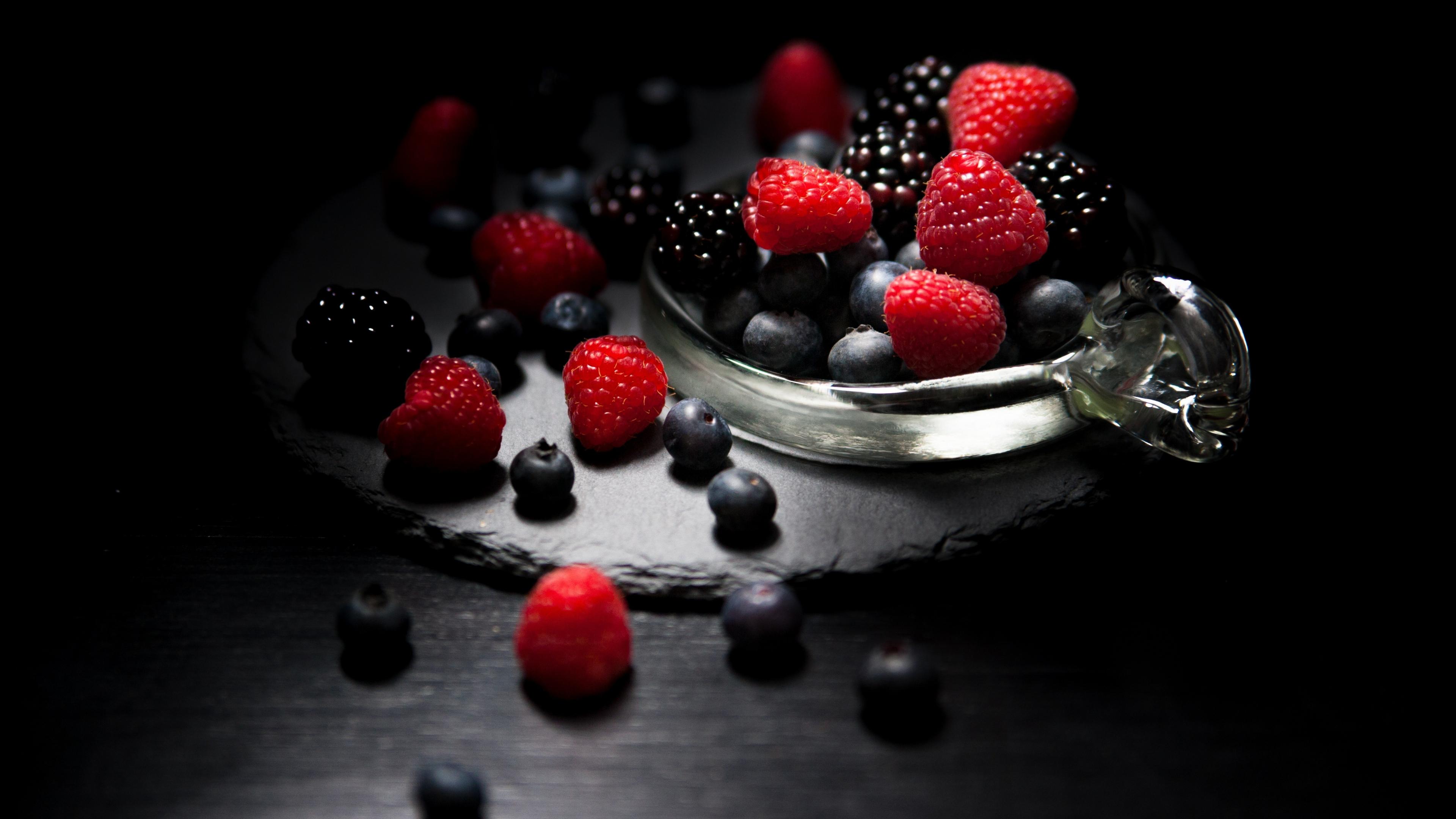 Dark mood, food, fruits, Raspberry, blueberry, Blackberry, 3840x2160 wallpaper