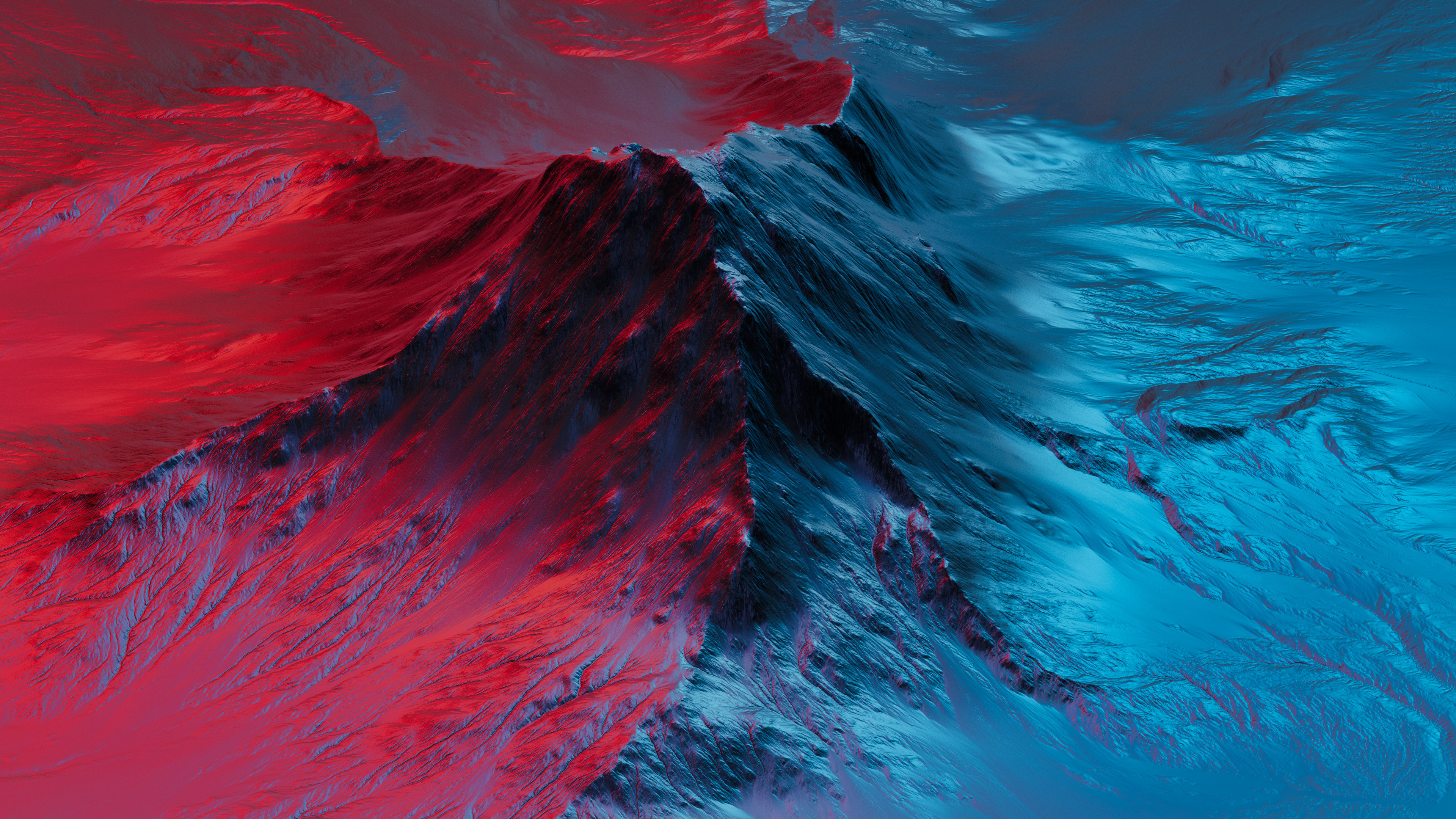 Download 3840x2160 wallpaper mountain, neon, red-blue ...