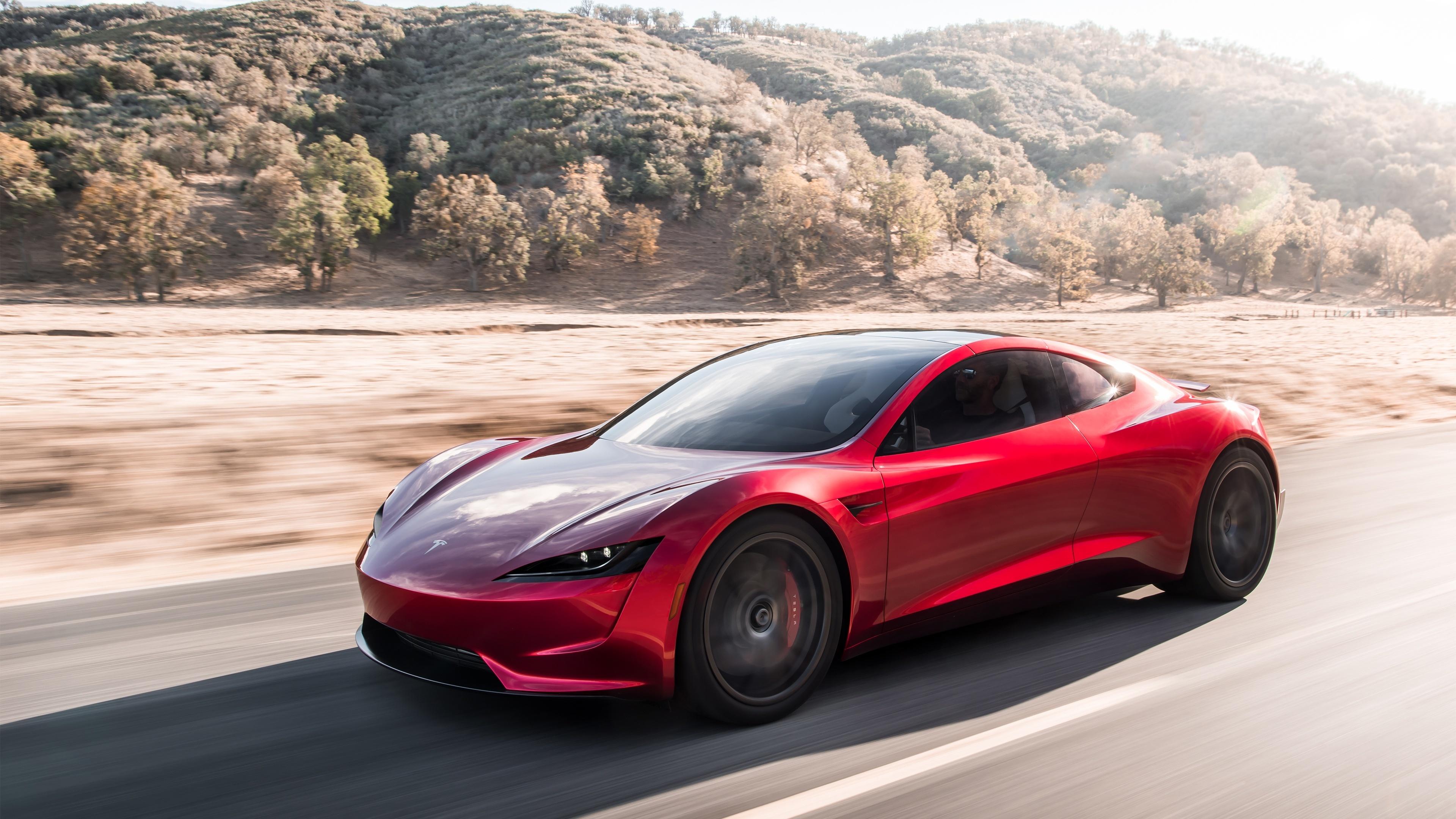 Download 3840x2400 Wallpaper Red Sports Car Tesla Roadster
