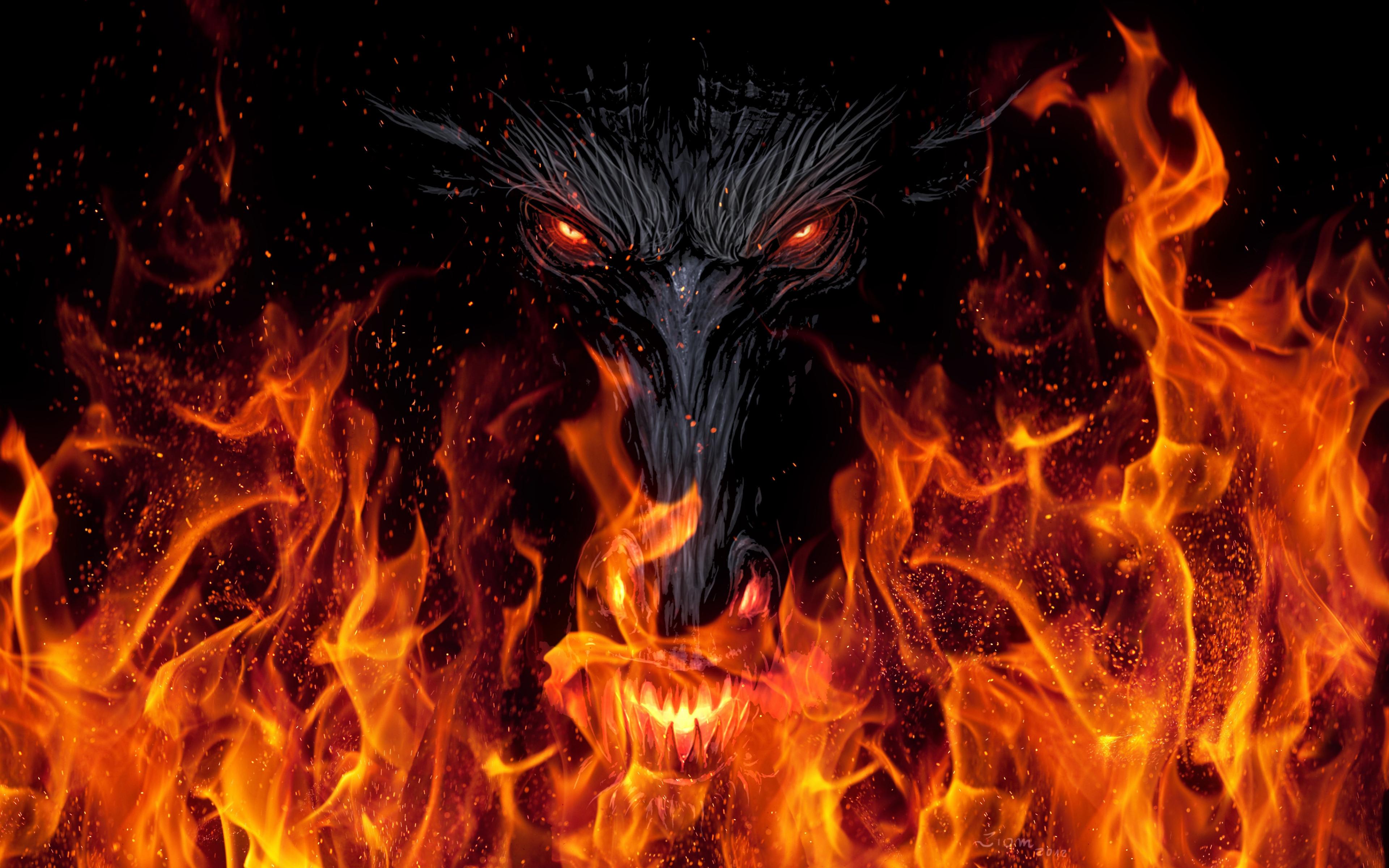 Download 3840x2400 Wallpaper Devil S Face Fire Dark