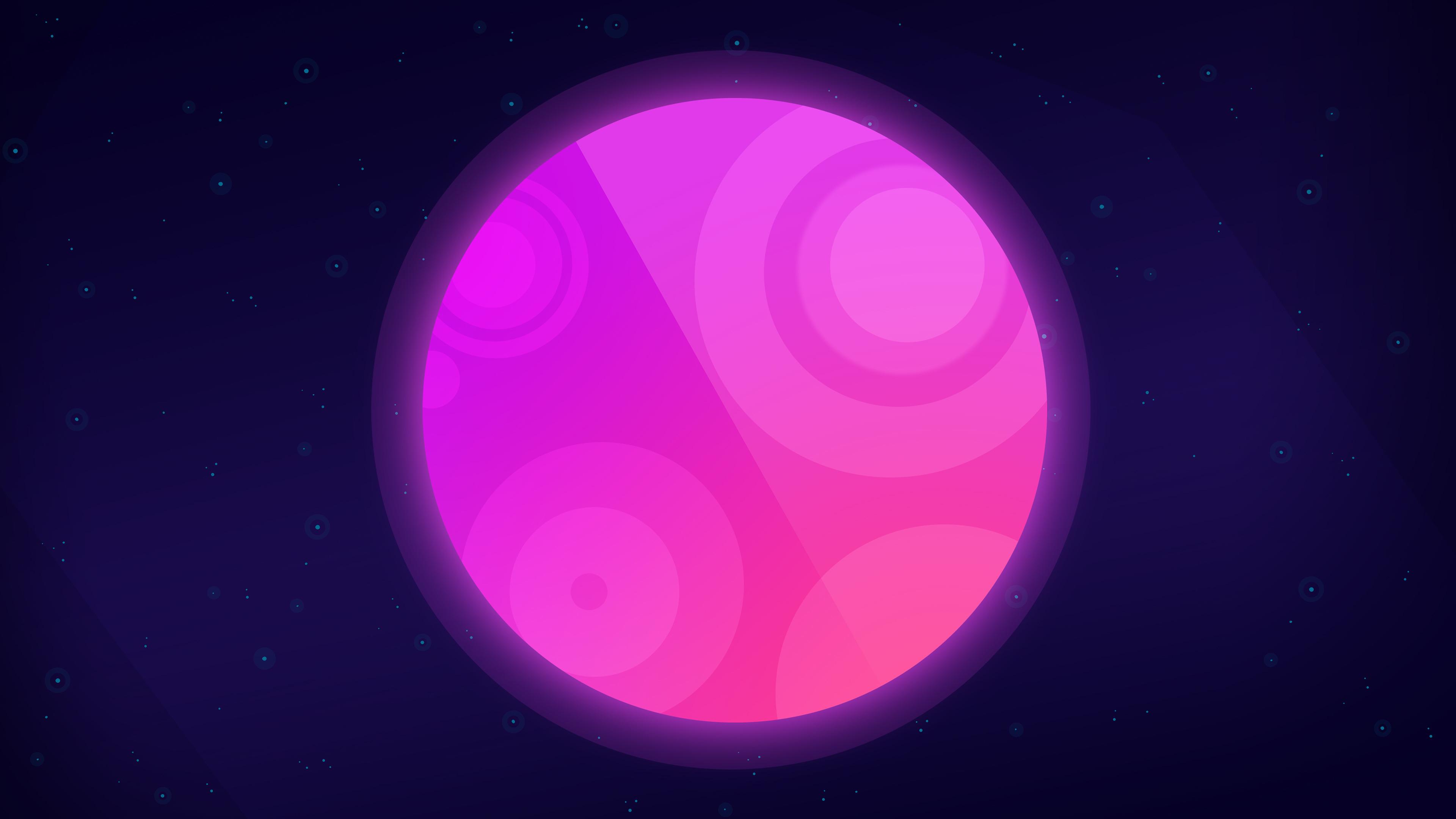 moon neon pink planet 4k