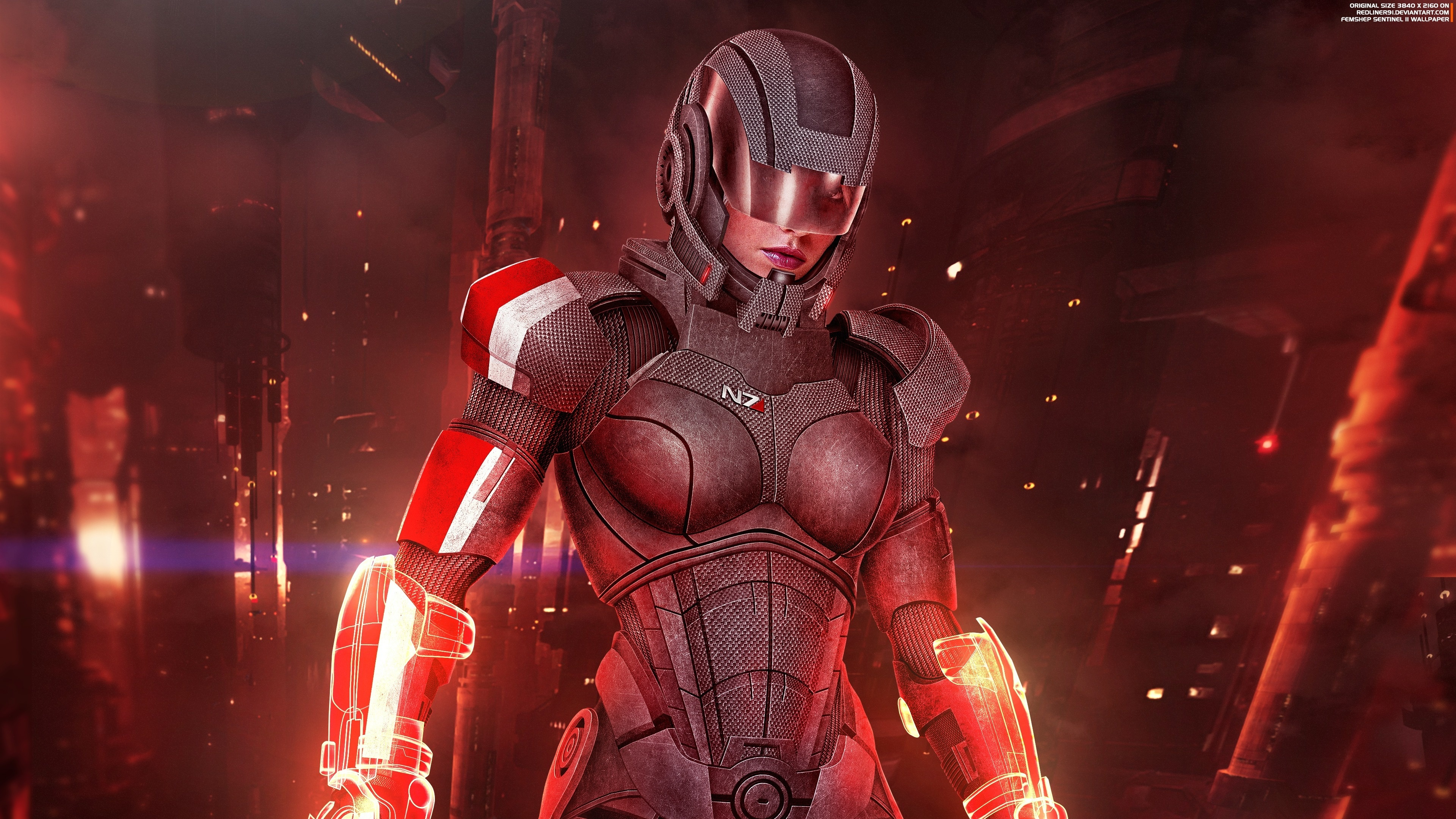 Download 3840x2400 Wallpaper Female Shepard Sentinel Mass Effect