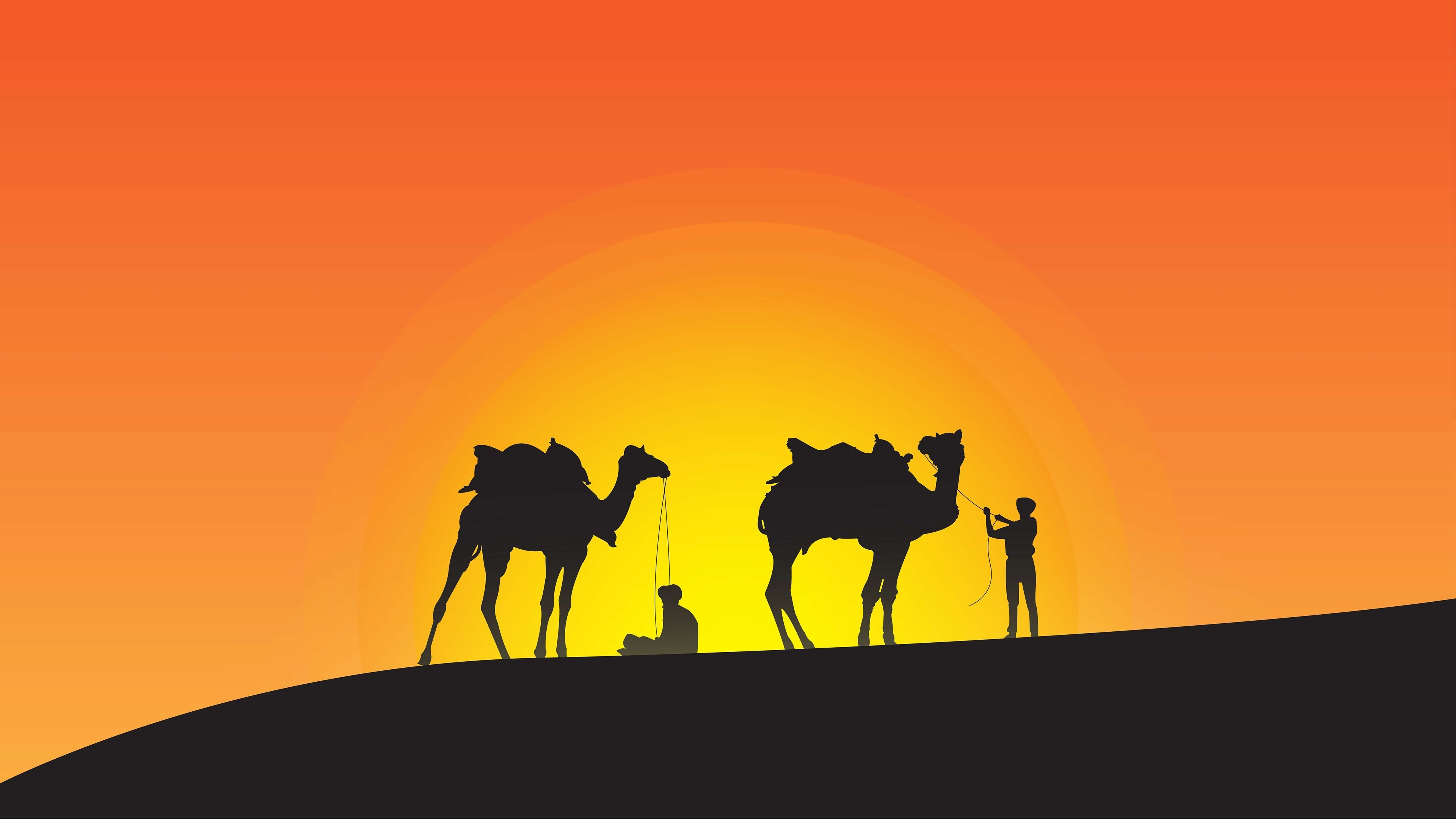 Download 3840x2400 Wallpaper Camels Sunset Silhouette