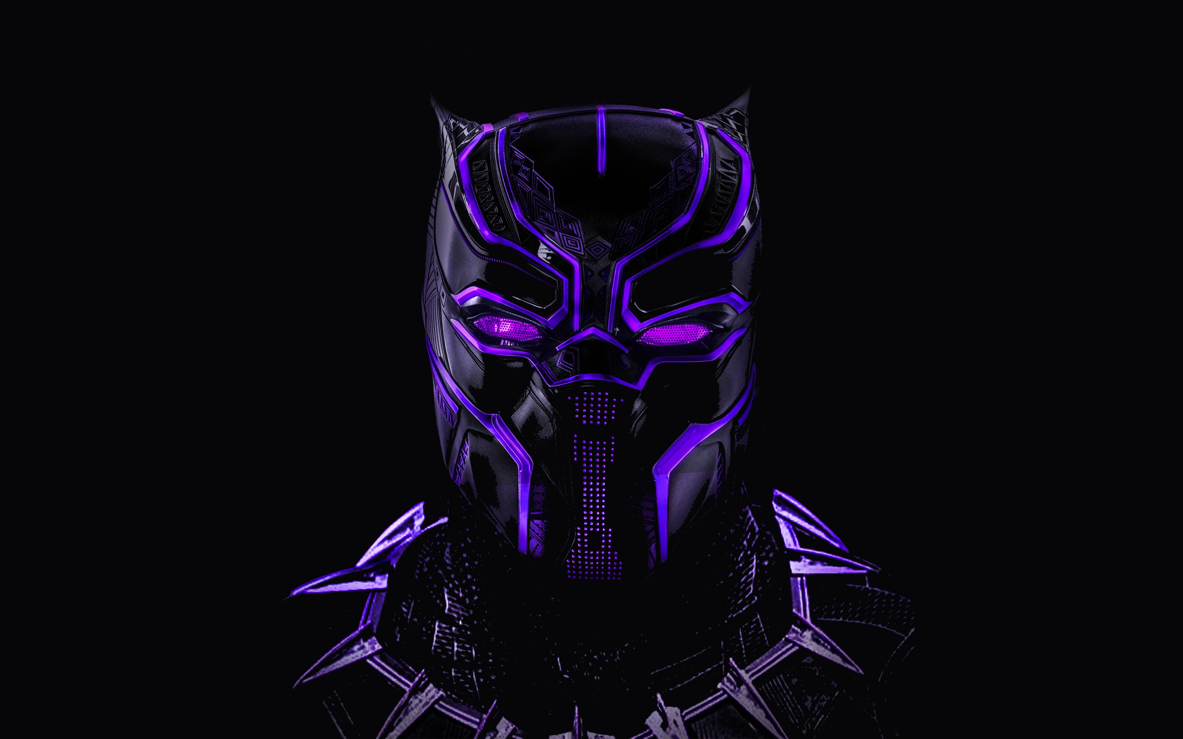 Download 3840x2400 Wallpaper Black Panther Superhero Dark Glowing