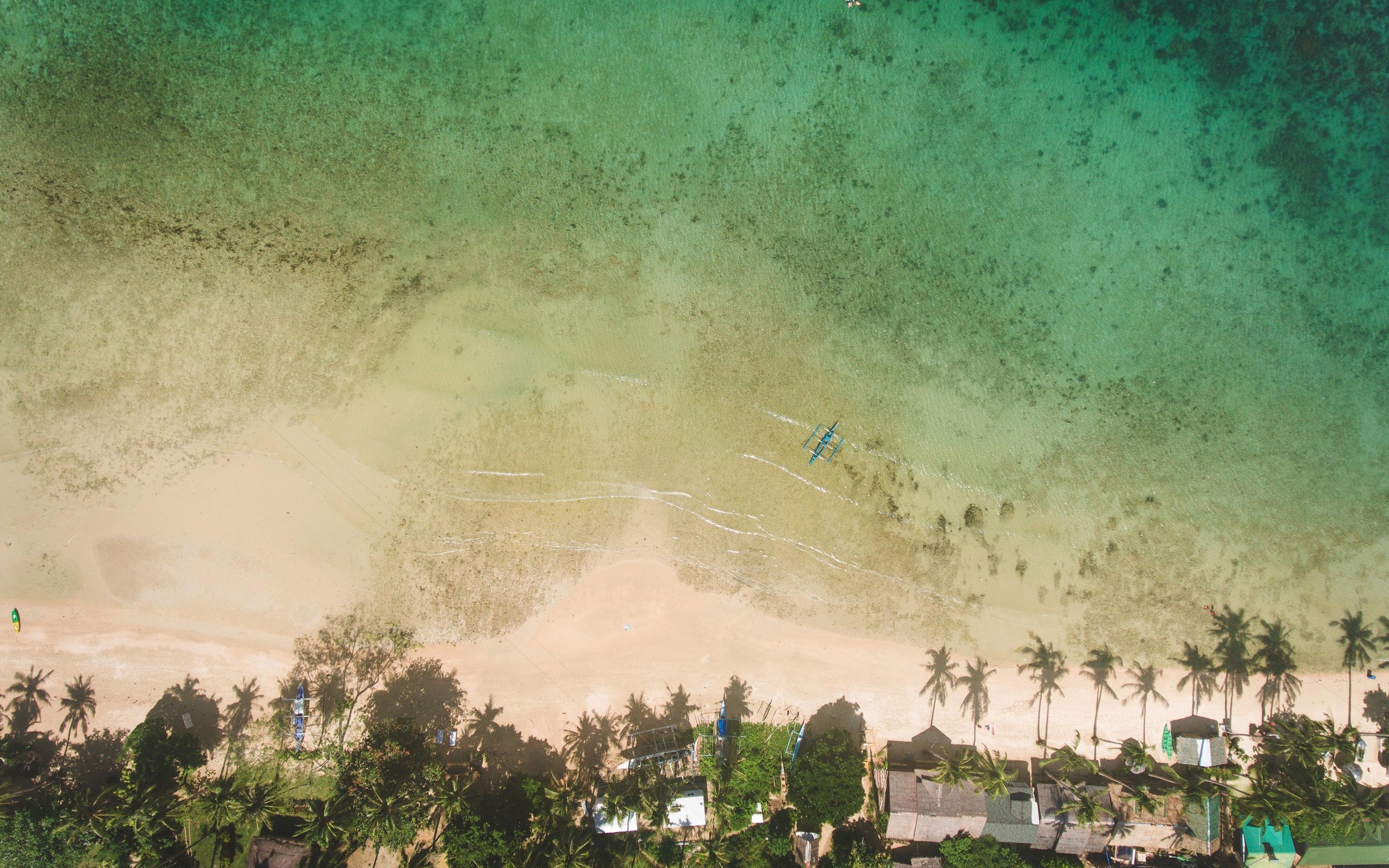 Download 3840x2400 Wallpaper Green Beach Aerial View 4k