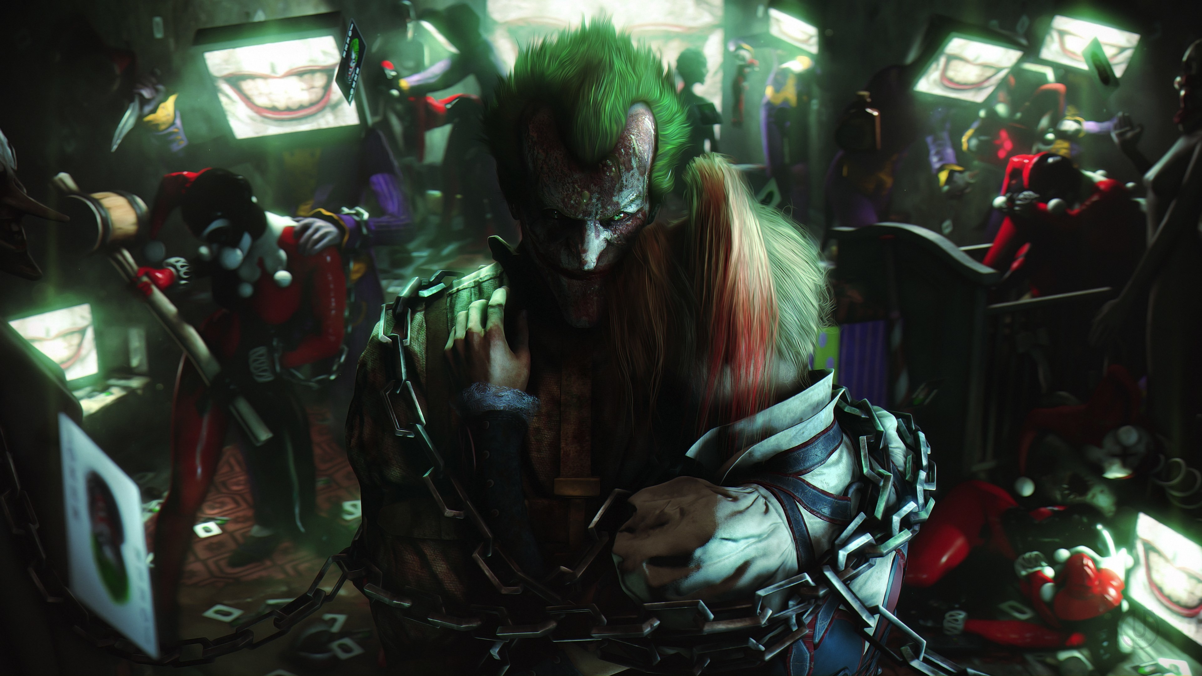 Download 3840x2400 wallpaper batman: arkham city, joker ...