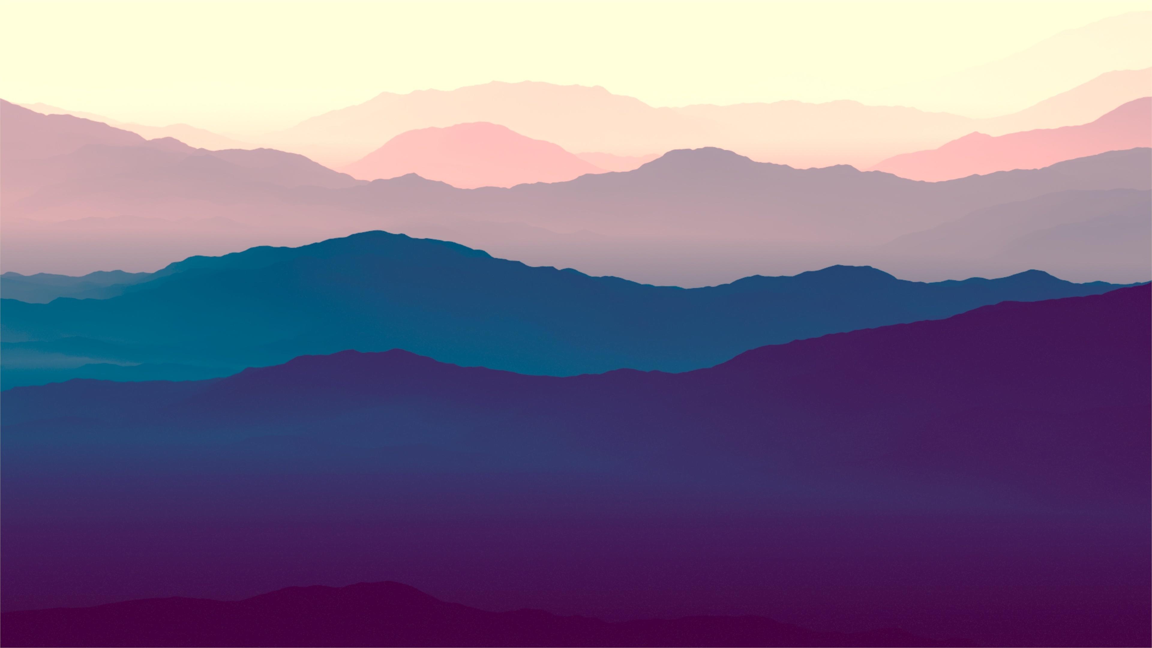 Download 3840x2400 wallpaper mountains, landscape, purple ...