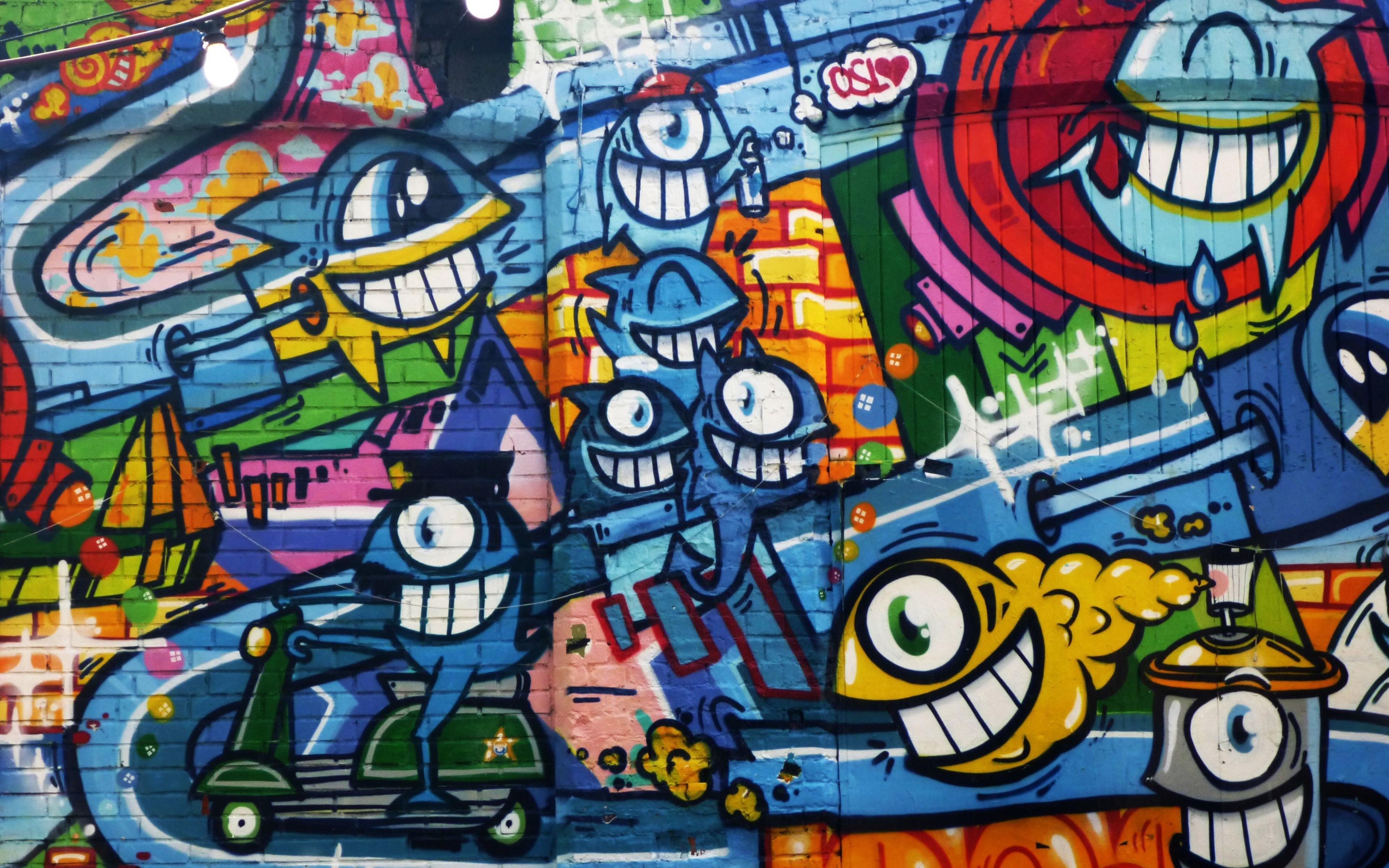 download 3840x2400 wallpaper graffiti, wall art, bright, street wall