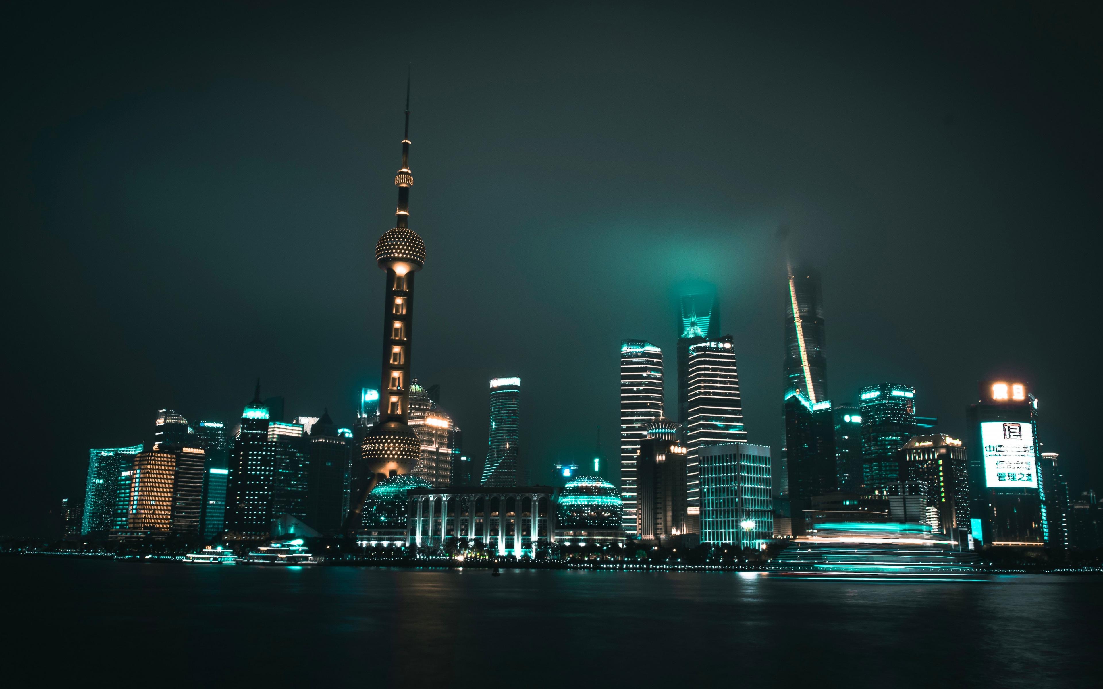 The Bund, Shanghai, cityscape, night, 3840x2400 wallpaper